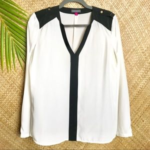 Vince Camuto long sleeve blouse with black border